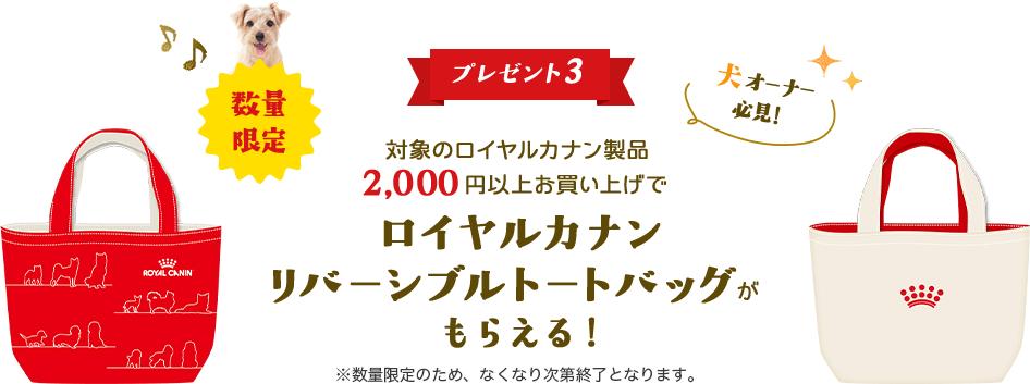 プレゼント3 対象のロイヤルカナン製品2,000円以上お買い上げで使えるロイヤルカナンリバーシブルトートバッグがもらえる!※バッグは数量限定のため、なくなり次第終了となります。
