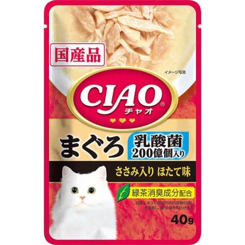 CIAO パウチ 乳酸菌入 まぐろ ささみ入りほたて味