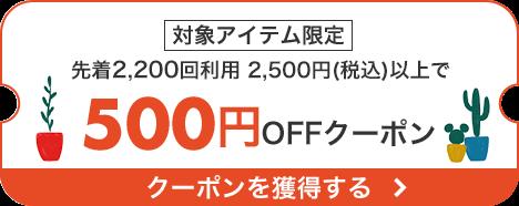 先着2,200回 対象アイテム限定2,500円以上のお買い物で使える500円OFFクーポン