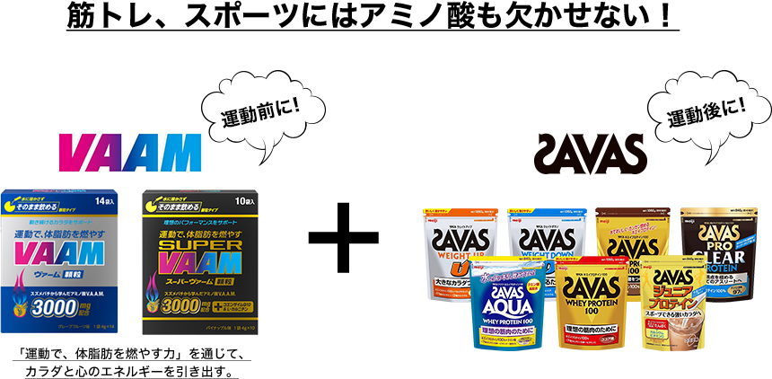 筋トレ、スポーツにはアミノ酸も欠かせない! 運動前に!VAAM+運動後に!SAVAS