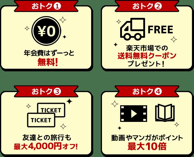 楽天学割のお得な特典をご紹介。年会費はずーっと無料!楽天市場で使える送料無料クーポンプレゼント!友達との旅行も最大4000円オフ!動画やマンガがポイント最大10倍!