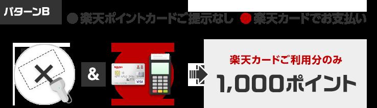 [パターンB]楽天ポイントカードご提示なし&楽天カードでお支払いで 楽天カードご利用分のみ1,000ポイント獲得