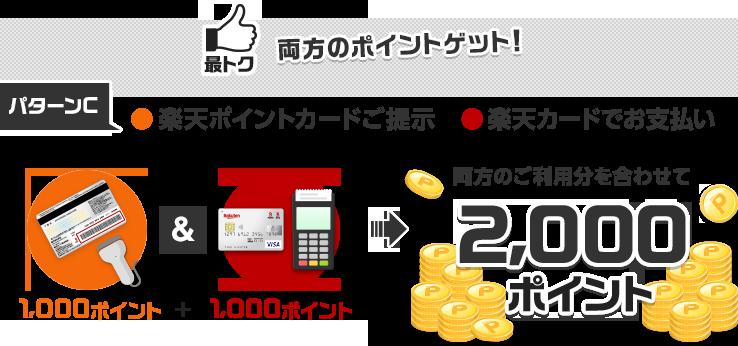 【最トク】両方のポイントゲット![パターンC]楽天ポイントカードご提示(1,000ポイント)&楽天カードでお支払い(1,000ポイント) 両方のご利用分を合わせて2,000ポイント獲得
