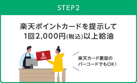 【STEP2】楽天ポイントカードを提示して1回2,000円(税込)以上給油(楽天カード裏面のバーコードでもOK!)