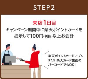 【STEP2】来店1日目 キャンペーン期間中に楽天ポイントカードを提示して100円(税抜)以上お会計(楽天ポイントカードアプリまたは楽天カード裏面のバーコードでもOK!)