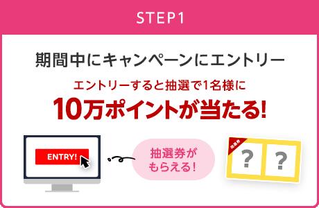 【STEP1】期間中にキャンペーンにエントリー/エントリーすると抽選で1名様に10万ポイントが当たる!(抽選券がもらえる!)