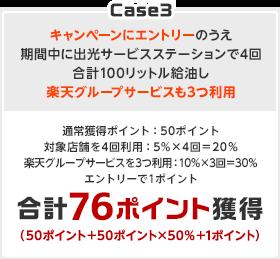 Case3 キャンペーンにエントリーのうえ期間中に出光サービスステーションで4回合計100リットル給油し楽天グループサービスも3つ利用→通常獲得ポイント:50ポイント 対象店舗を4回利用:5%×4回=20% 楽天グループサービスを3つ利用:10%×3回=30% エントリーで1ポイント 合計76ポイント獲得(50ポイント+50ポイント×50%+1ポイント)