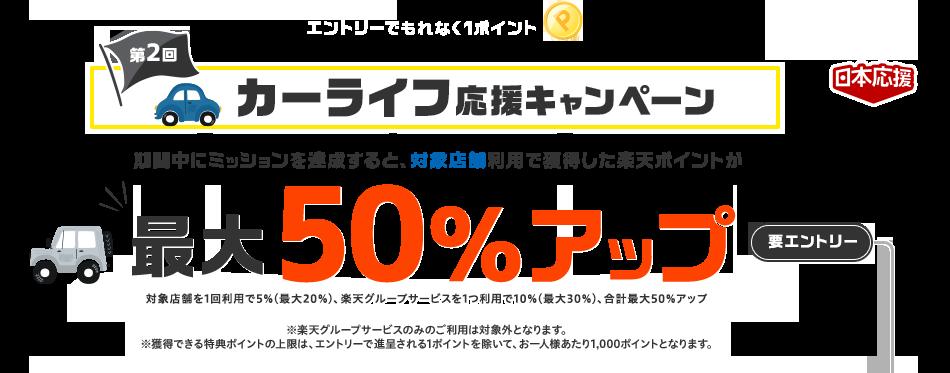 [日本応援]エントリーでもれなく1ポイント 第2回カーライフ応援キャンペーン 期間中にミッションを達成すると、対象店舗利用で獲得した楽天ポイントが最大50%アップ(対象店舗を1回利用で5%(最大20%)、楽天グループサービスを1つ利用で10%(最大30%)、合計最大50%アップ) 要エントリー ※楽天グループサービスのみのご利用は対象外となります。※獲得できる特典ポイントの上限は、エントリーで進呈される1ポイントを除いて、お一人様あたり1,000ポイントとなります。