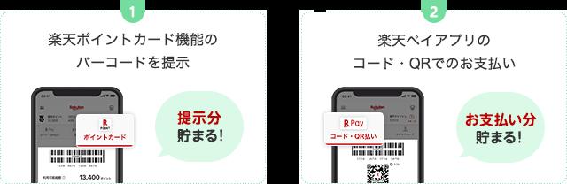 1. 楽天ポイントカード機能のバーコードを提示(提示分貯まる!)、2. 楽天ペイアプリのコード・QRでお支払い(お支払い分貯まる!)