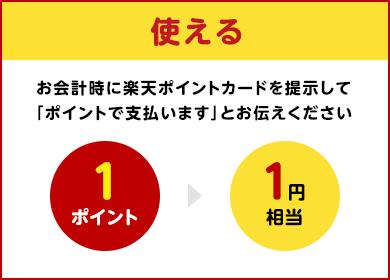 【使える】1ポイント1円相当で使える:お会計時に楽天ポイントカードを提示して「ポイントで支払います」とお伝えください