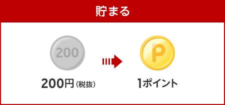 【貯まる】200円(税抜)で1ポイント貯まる!