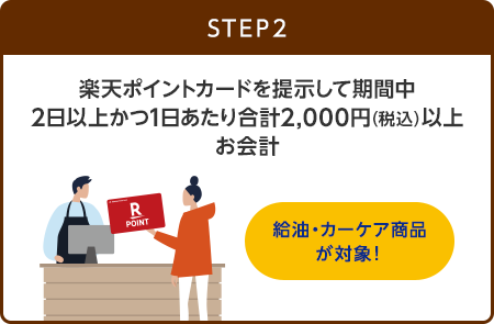【STEP2】楽天ポイントカードを提示して期間中2日以上かつ1日あたり合計2,000円(税込)以上お会計(給油・カーケア商品が対象!)