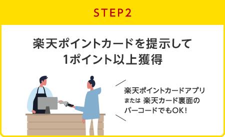 【STEP2】楽天ポイントカードを提示して1ポイント以上獲得(楽天ポイントカードアプリまたは楽天カード裏面のバーコードでもOK!)