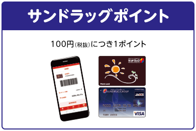 [サンドラッグポイント]100円(税抜)につき1ポイント