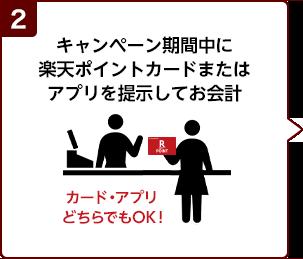 2.キャンペーン期間中に楽天ポイントカードまたはアプリを提示してお会計(カード・アプリどちらでもOK!)