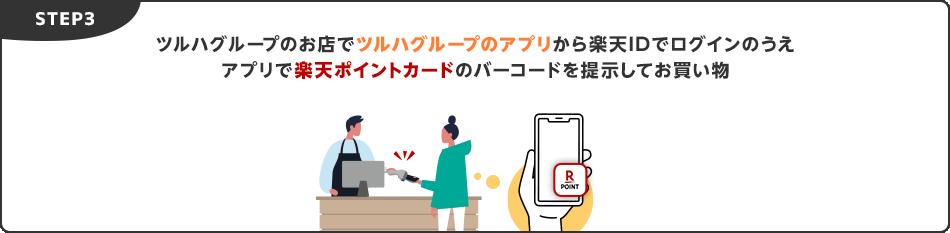 STEP3.ツルハグループのお店でツルハグループのアプリから楽天IDでログインのうえアプリで楽天ポイントカードのバーコードを提示してお買い物
