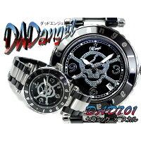 【DAD angel】ダッドエンジェル メンズ腕時計 スカルダイアル ブラック×シルバー セラミック×ステンレスコンビベルト DAD701-05