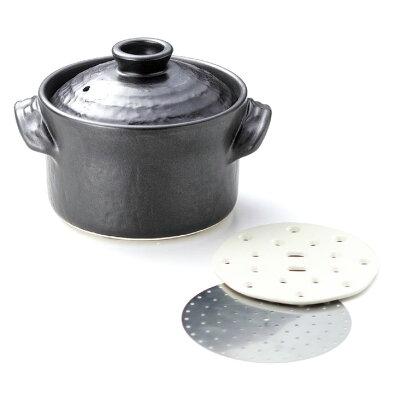 黒釉 IHごはん鍋 多機能 黒釉 IHごはん鍋(遠赤外・ステンレスプレート付)2合用