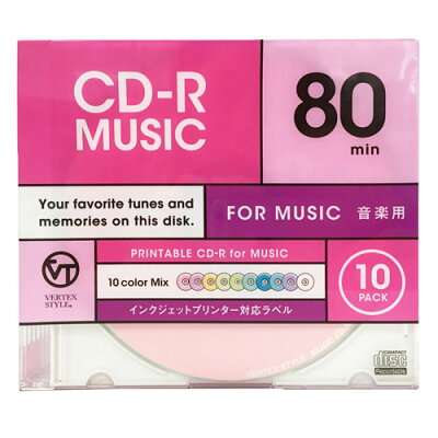 CD-R Audio 80分 10P カラーミックス10色 10CDRA.CMIX.80VXCA(1コ入)