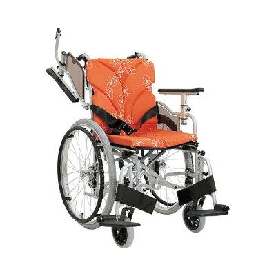 カワムラサイクル モジュールオーダー車いす AYO24-48-47 シルバー 花柄オレンジ(No.84)