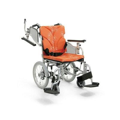 カワムラサイクル モジュールオーダー車いす AYO16-50-49 シルバー 花柄オレンジ(No.84)