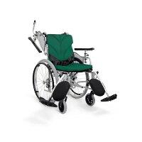 カワムラサイクル モジュールオーダー車いす AYO22-40-43EL スモーキングホワイト 本革調 緑(No.47)