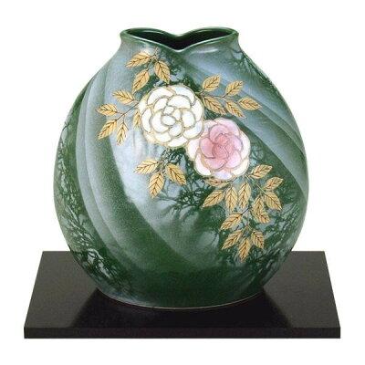 九谷焼 万作作 7号花瓶 野薔薇 N170-06