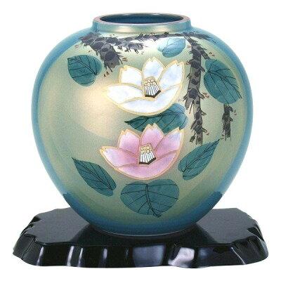 九谷焼 万作作 7号花瓶 紅白山茶花 N170-07