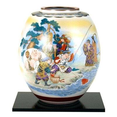 九谷焼 8号花瓶 七福神 N173-06