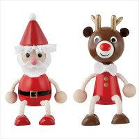 クリスマス 木の人形サンタクロース  トナカイ  飾り チェコ