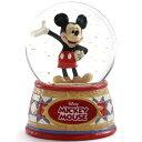ディズニー スノードーム ミッキーマウス ウォーターグローブ 100mm 木彫り調フィギュア ディズニートラディション