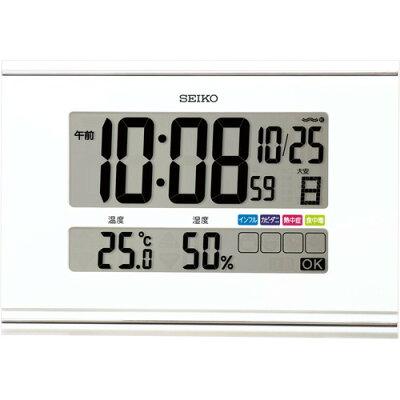 SEIKO 掛け置き兼用時計 快適環境NAVI 白パール SQ445W