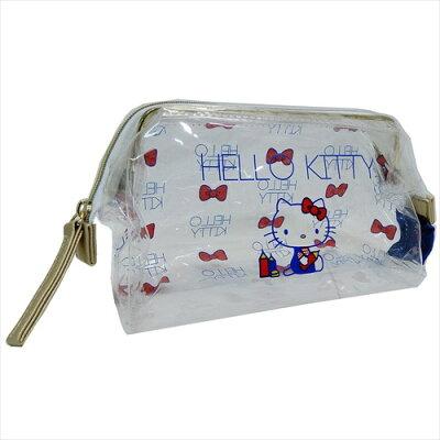 ハローキティ 透明コスメポーチ PVCクリアガマグチポーチ サンリオ 松尾繊維工業 20×10×8cm