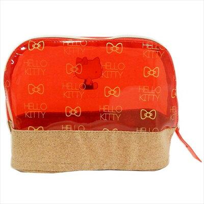 ハローキティ 透明コスメポーチ pvcクリアカラードーム型ポーチ レッド サンリオ 松尾繊維工業