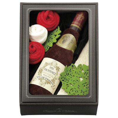 ワイン型タオルハンカチ レッド RC1420 RD