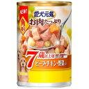 ユニ・チャームペットケア 愛犬元気 角切り7歳以上用 ビーフ・チキン・野菜入 375g
