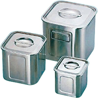 三宝産業 UK 18-8 角型 キッチンポット 27cm 手付 商品コード:32200