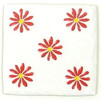 玉川窯業 手書き風ハッピータイル 花柄 ピンク 約97×97×7mm HY-025GW