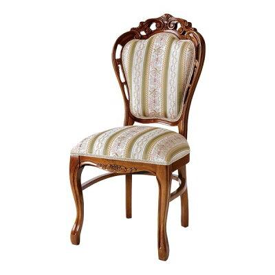 ダイニングチェア 椅子 クラシック調 姫系 Fiore アラベスク模様 ブラウンフレーム 座面高48cm