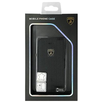 ランボルギーニ iPhone5/5s/SE専用本革製手帳型ケース カードホルダー付 ブラック(1コ入)
