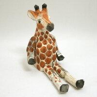 木彫り 動物トイ 木製動物型オブジェ キリン ウッドアニマルトイ Giraffe