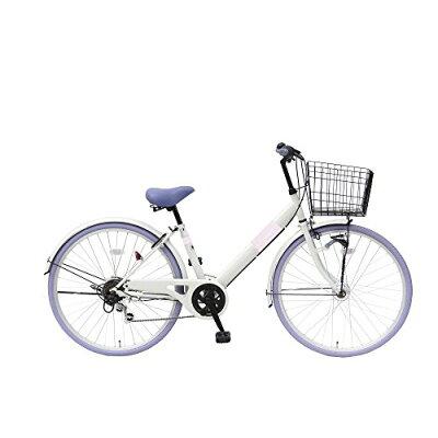 自転車 シティサイクル 26インチ 6段 Vフレーム LEDオートライト Lupinusルピナス LP-266VTA グレー×パープル