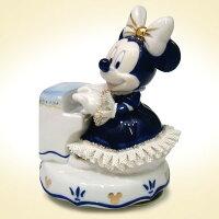 TK名古屋人形製陶/ミニー ピアノ弾き オルゴール ブルー DY-2363B