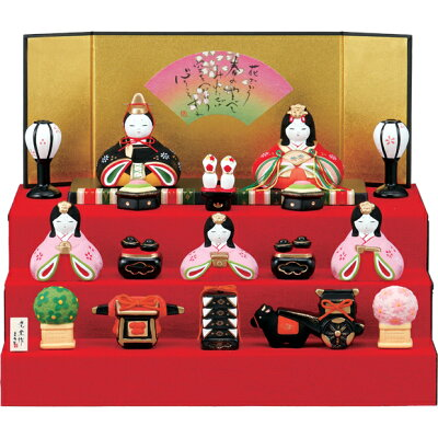 ひな人形 薬師窯 錦彩華みやび段飾り雛 小さい 雛人形 コンパクト 段飾り 2455