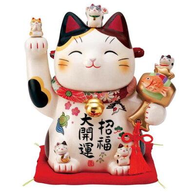 彩絵招福大開運招き猫 ちりめん首輪付 7.5号 7454