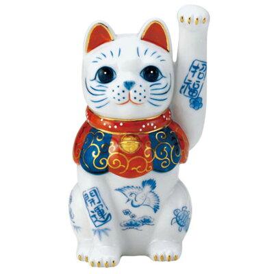 染錦開運招福招き猫 手長左手上げ 4.5号 7480