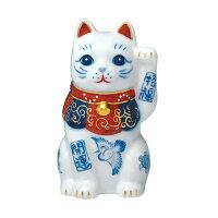 染錦開運招福招き猫 左手上げ 2.5号 7499