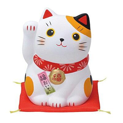 錦彩福おいで招き猫 中 みけ 右手上げ AM-Y7516