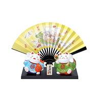 錦彩福の神招き猫七福神飾扇付  AM-Y7552