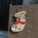 インテリア&ガーデニング雑貨 クリスマス 光る!! 木製ソックスモチーフ壁掛け スノーマン 飾り
